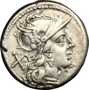 obverse: Cn. Domitius Ahenobarbus.. AR Denarius, 189-180 BC
