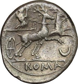 reverse: Anonymous. AR Denarius, 143 BC