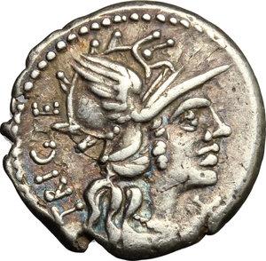 obverse: C. Curiatius Trigeminus. . AR Denarius, 142 BC