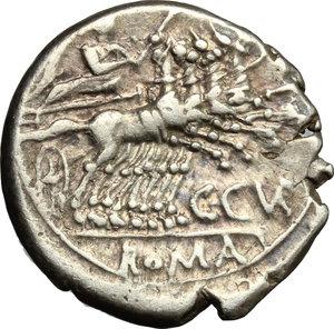 reverse: C. Curiatius Trigeminus. . AR Denarius, 142 BC