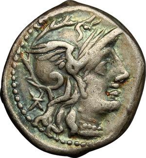 obverse: Ti. Minucius C. f. Augurinus.. AR Denarius, 134 BC