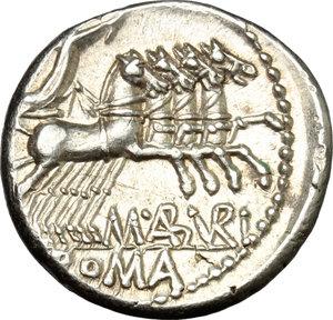 reverse: M. Aburius M.f. Geminus.. AR Denarius, 132 BC