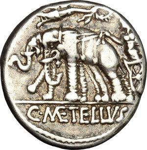 reverse: C. Caecilius Metellus Caprarius.. AR Denarius, 125 BC