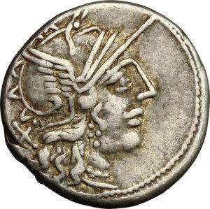 obverse: C. Cato. AR Denarius, 123 BC