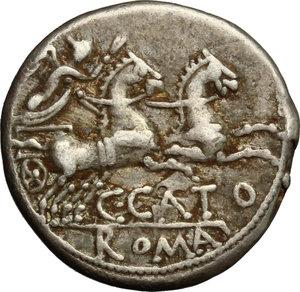 reverse: C. Cato. AR Denarius, 123 BC