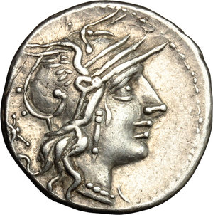 obverse: C. Fabius, L. Roscius and Q. Marcius.. AR Denarius, 118-117 BC