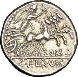 reverse: C. Fabius, L. Roscius and Q. Marcius.. AR Denarius, 118-117 BC