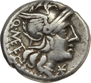 obverse: Q. Caecilius Metellus. AR Denarius, 130 BC. D/ Helmeted head of Roma right; behind, Q. METE; before, X. R/ Jupiter in quadriga right, holding reins and thunderbolt in left hand and branch in right hand; in exergue, ROMA. Cr. 256/1. B. 21. AR.      19.00 mm. 3.80 g.   VF