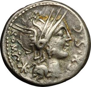 obverse: M. Sergius Silus.. AR Denarius, 116-115 BC