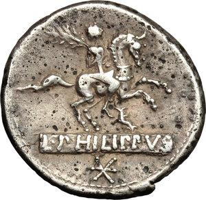 reverse: L. Philippus.. AR Denarius, 113 or 11 BC
