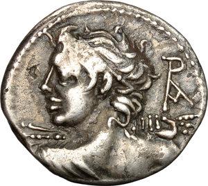 obverse: Lucius Caesius.. AR Denarius, 112-111 BC