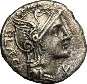 obverse: P. Laeca.. AR Denarius, circa 110-109 B.C