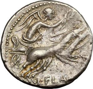 reverse: L. Flaminius Chilo.. AR Denarius, 109 or 108 BC