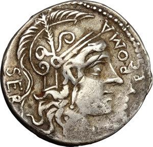 obverse: A. Manlius Q.f. Sergianus.. AR Denarius, c. 118-107 BC