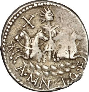 reverse: A. Manlius Q.f. Sergianus.. AR Denarius, c. 118-107 BC
