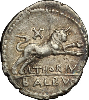 reverse: L. Thorius Balbus.. AR Denarius, 105 BC