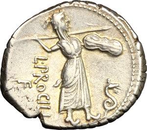 reverse: L. Procilius.. AR Denarius, 80 BC
