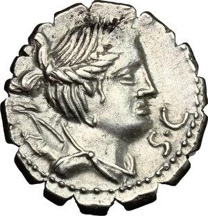 obverse: Ti. Claudius Ti. f. Ap. n. Nero.. AR Denarius serratus, 79 BC. Obv