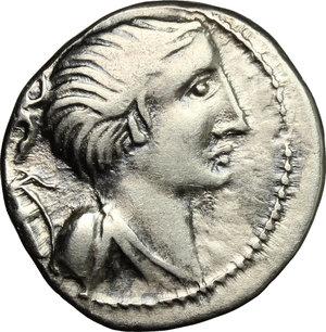 obverse: C. Postumius.. AR Denarius, Celtic imitation, after 74 BC