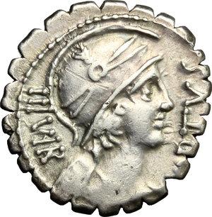 obverse: Mn. Aquillius Mn. f. Mn. n.. AR Denarius serratus, 71 BC