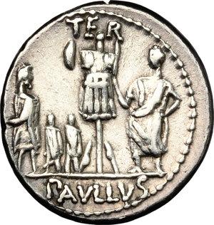 reverse: L. Aemilius Lepidus Paullus. . AR Denarius, 62 BC
