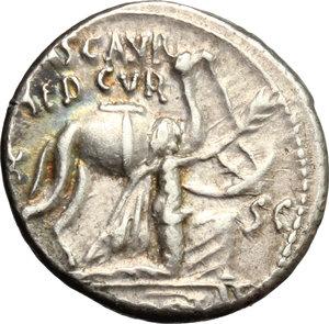 obverse: M. Aemilius Scaurus and Pub. Plautius Hypsaeus. . AR Denarius, 58 BC
