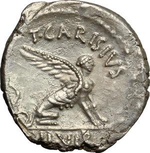 reverse: T. Carisius.. AR Denarius, 46 BC