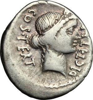 obverse: Julius Caesar.. AR Denarius, 46 BC. Sicily (?)