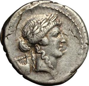 obverse: P. Clodius M.f. Turrinus.. AR Denarius, 42 BC