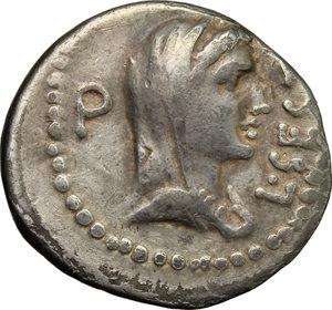 obverse: Q. Caepio Brutus and Sestius Pro. Q.. Fourrée (?) Denarius, 43-42 BC. Mint moving with Brutus