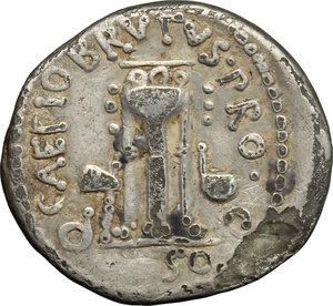 reverse: Q. Caepio Brutus and Sestius Pro. Q.. Fourrée (?) Denarius, 43-42 BC. Mint moving with Brutus