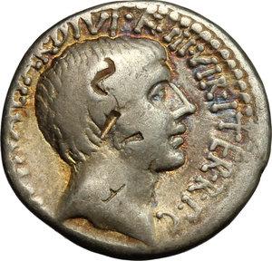 obverse: Octavian. AR Denarius, mint moving with Octavian, 36 BC