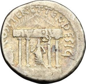 reverse: Octavian. AR Denarius, mint moving with Octavian, 36 BC