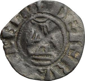 reverse: Gerusalemme.  Amalrico I di Gerusalemme (1163-1174). Denaro con la rappresentazione della Chiesa del Santo Sepolcro