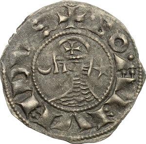 obverse: Antiochia.  Boemondo III (1163-1201).. Denaro tornese