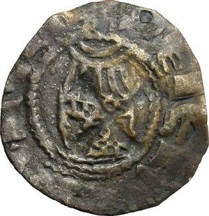 reverse: Gerusalemme.  Amalrico II di Lusignano (1197-1205), Re di Gerusalemme. . Denaro con la rappresentazione della Chiesa del Santo Sepolcro