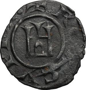 reverse: Cipro.  Enrico I (1218-1253). Denaro al tipo genovese