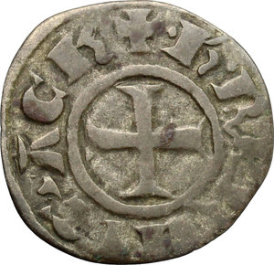 obverse: Chiarenza.  Carlo II d Angiò (1285-1289).. Denaro tornese