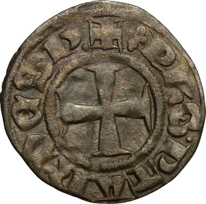 obverse: Grecia Franca, Epiro.  Filippo di Taranto (1294-1313).. Denaro tornese