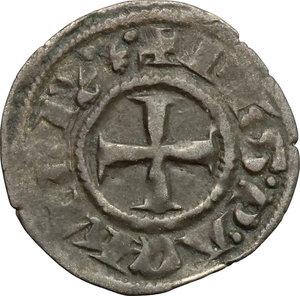 obverse: Chiarenza.  Filippo di Taranto (1294-1313).. Denaro tornese