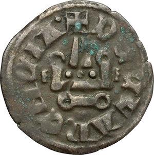 reverse: Chiarenza.  Filippo di Taranto (1294-1313).. Denaro tornese