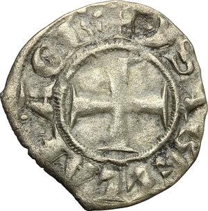 obverse: Chiarenza.  Isabella di Villehardouin (1297-1301). Denaro tornese