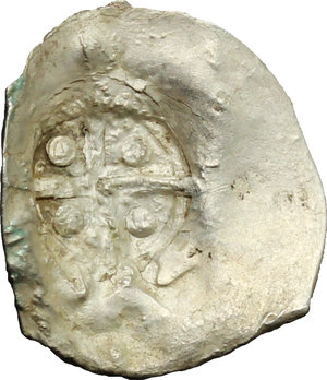 obverse: Moncastro..  Genovesi sul litorale rumeno. . Aspro con contromarca con croce e globuli su tondello vergine (non su una moneta dell Orda d Oro). XIV-XV sec