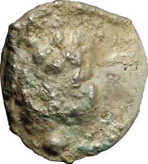 reverse: Moncastro..  Genovesi sul litorale rumeno. . Aspro con contromarca con croce e globuli su tondello vergine (non su una moneta dell Orda d Oro). XIV-XV sec
