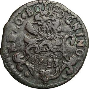 reverse: Bologna.  Clemente XI (1700-1721). Mezzo bolognino 1713
