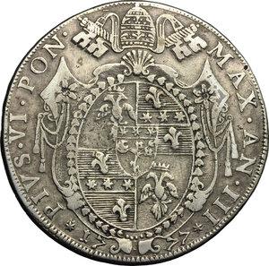 obverse: Bologna.  Pio VI (1775-1799). Scudo romano A. III, 1777