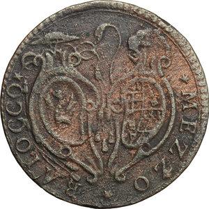 obverse: Bologna.  Pio VI (1775-1799). Mezzo baiocco A. VII, 1781