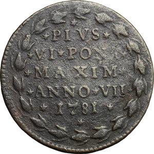 reverse: Bologna.  Pio VI (1775-1799). Mezzo baiocco A. VII, 1781