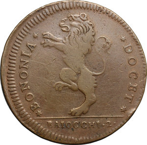 obverse: Bologna.  Pio VI (1775-1799). 2 baiocchi 1796