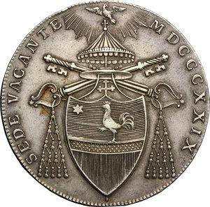obverse: Bologna.  Sede Vacante (1829), Cardinal Camerlengo Francesco Galeffi. . Scudo